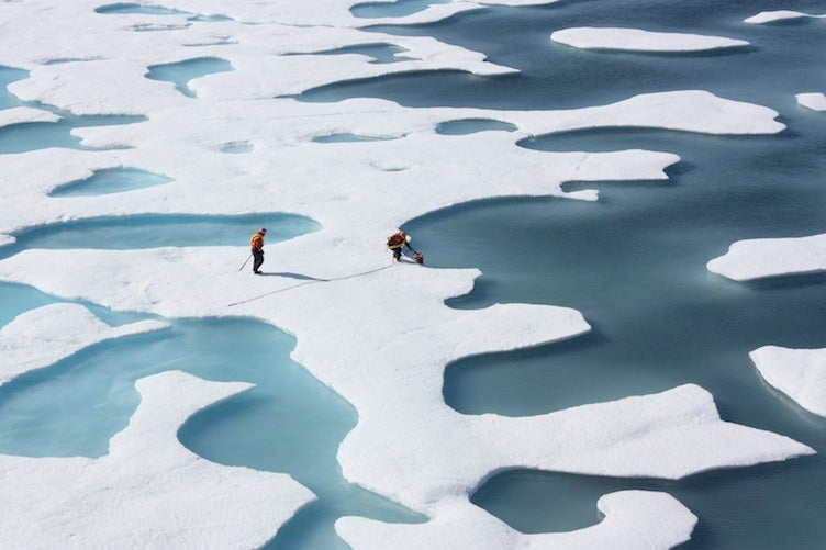 Arctic Ocean melt ponds investigated by NASA, July 2012