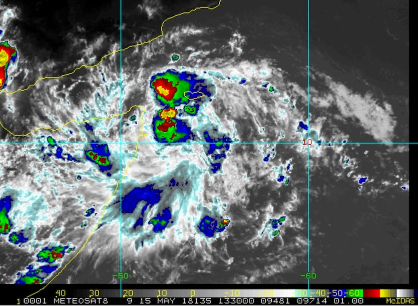 METEOSAT image of disturbance E of Somalia, 5/15/2018