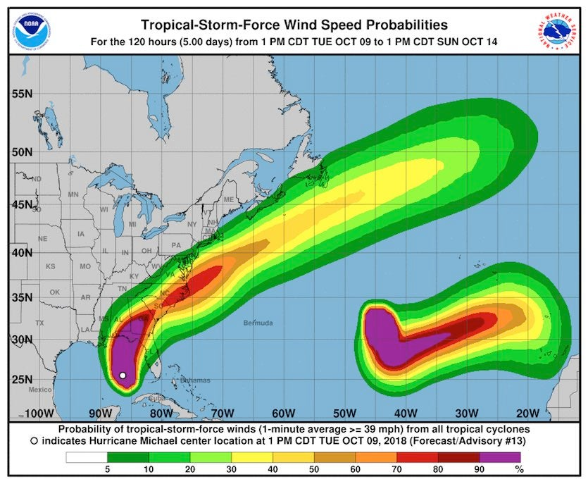 Local probabilities of tropical-storm-force winds over the five-day period that encompasses Hurricane Michael's track across the Southeast U.S