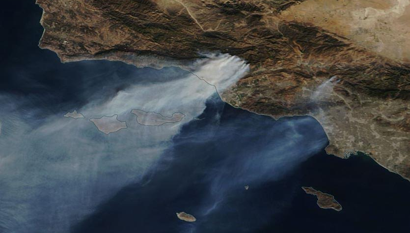 True-color MODIS satellite image of smoke from the fires in Southern California as seen on Wednesday morning, December 6, 2017.