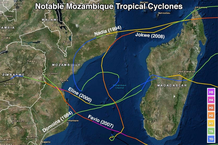 Mozambique tropical cyclone history