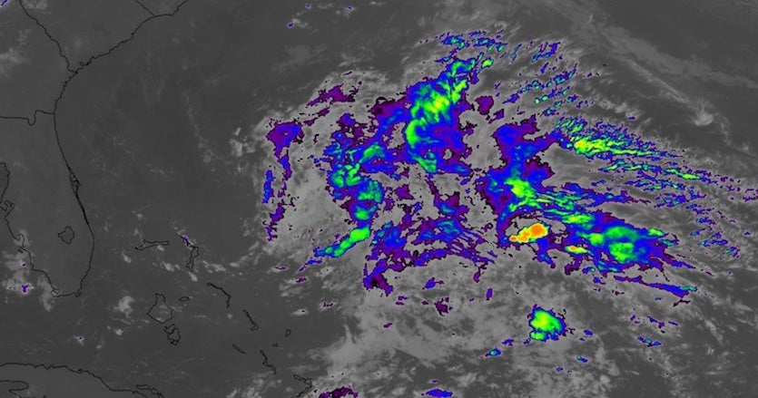 Infrared image of Invest 90L east of the Bahamas at 0531Z (1:31 am EDT) Monday, May 20, 2019.