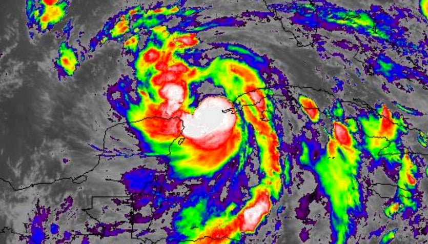 Infrared GOES-16 satellite image of Tropical Storm Nate at 9:02 pm EDT Friday, October 6, 2017.