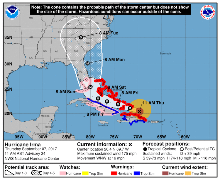 Official NHC forecast for Irma, 15Z 9/7/17