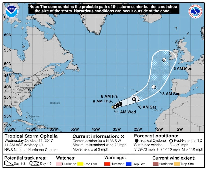 Figure 1.  NHC forecast map for Tropical Storm Ophelia, issued at 11 am EDT Wednesday, October 11, 2017.
