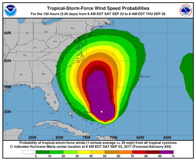 Tropical-storm-force wind probabilities from Maria, 12Z 9/23/2017 to 12Z 9/28/2017