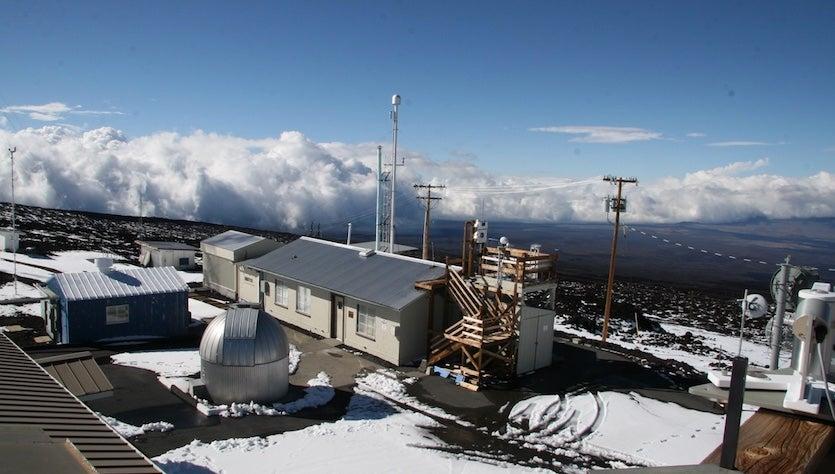 NOAA's Mauna Loa Observatory after a snowstorm