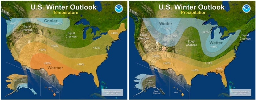 The outlook for temperatures (left) and precipitation (right) across the contiguous U.S. for winter 2017-18 (Dec. through Feb.), as predicted by NOAA on October 19, 2017