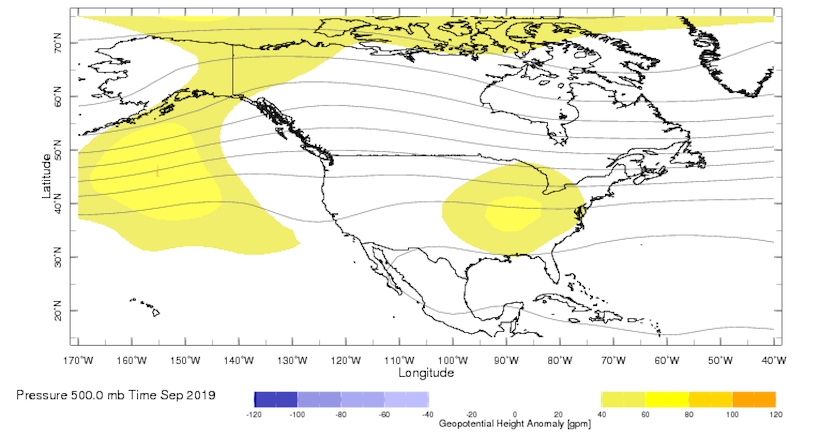 500 mb height anomalies over North America, Sept. 2019