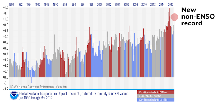 Graphic showing monthly global temperature anomalies and ENSO phase