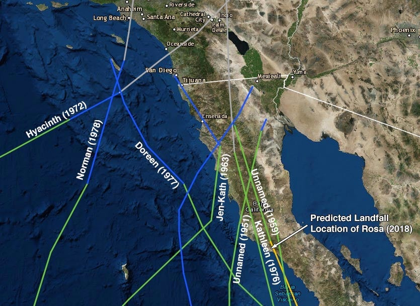 Tracks of all tropical cyclones to make landfall or pass just offshore of the northern Baja Peninsula since 1949