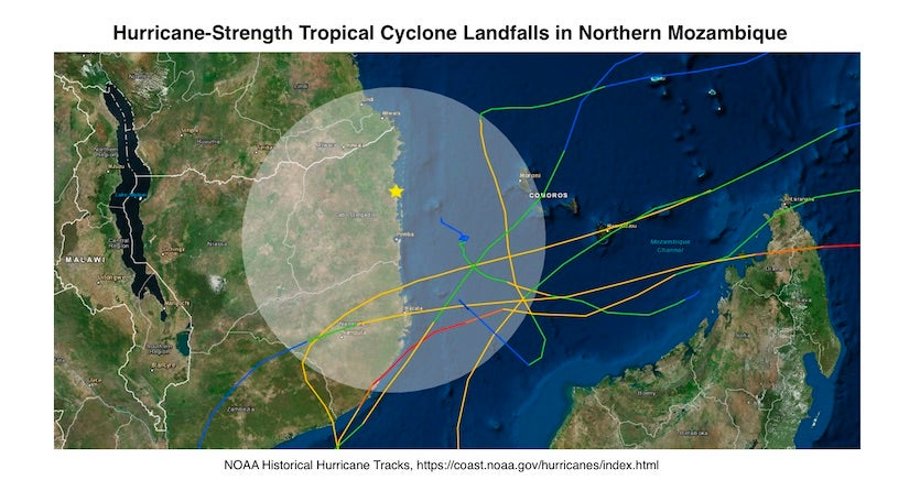 Track of all hurricane-strength tropical cyclones in the NOAA historical hurricanes database to pass within 200 nautical miles (about 230 miles) of the coastal city of Pemba in northern Mozambique