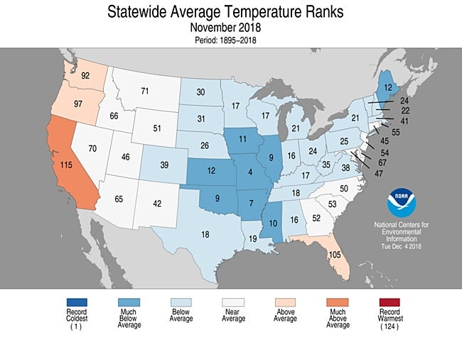 Statewide rankings for average temperature for November 2018
