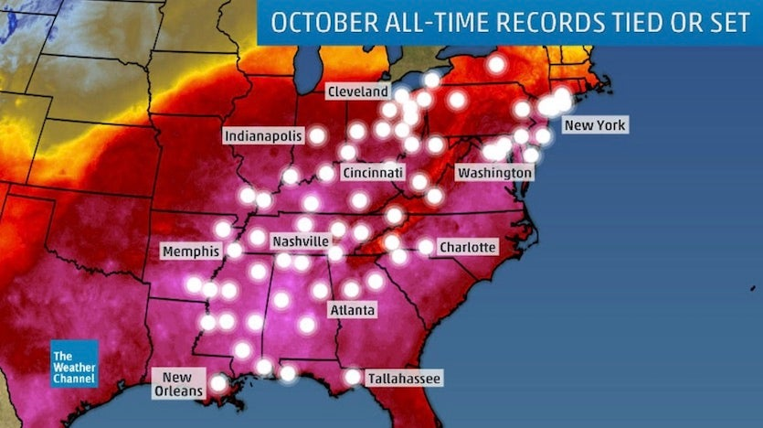 Locations of all-time October record highs, 10/1-10/3/19