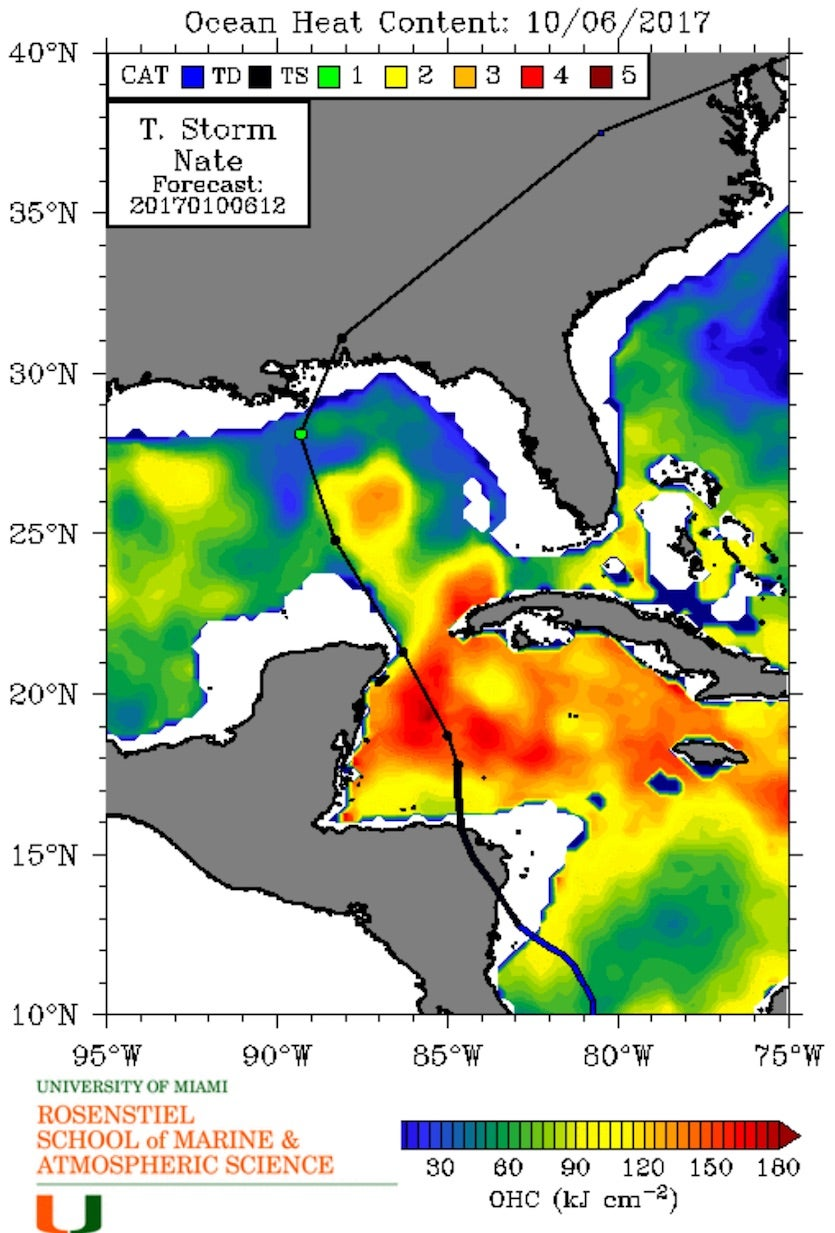 Ocean Heat Content (OHC) for October 6, 2017. Forecast positions for Nate from the 8 am EDT Friday NHC forecast are also shown