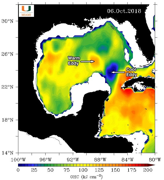 Oceanic heat content on 10/6/2018, Gulf of Mexico