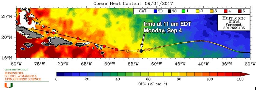 Map of oceanic heat content along Irma's path, 9/4/2017