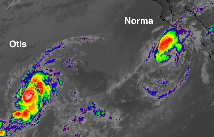 Infrared satellite image of Tropical Storm Otis (left) and TS Norma (right) at 11:45 am EDT Sunday, September 17, 2017.