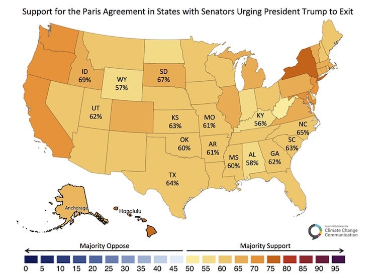 Map showing state-by-state support for Paris climate agreement