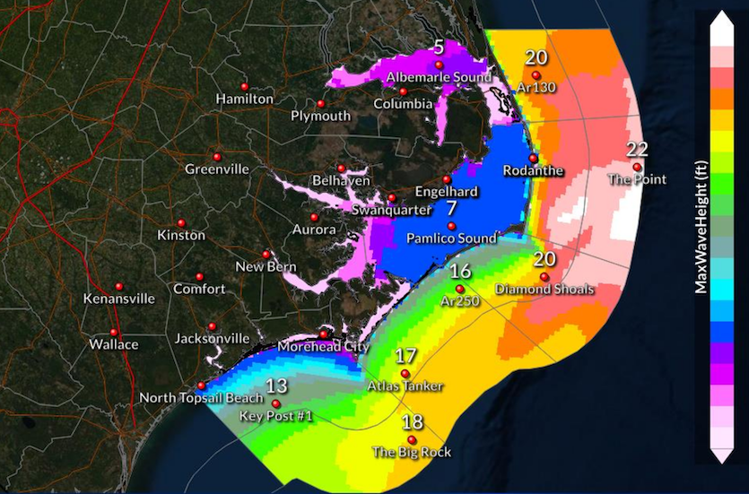 Peak wave heights this weekend in and near Outer Banks as predicted at 5 am EST 11/15/19
