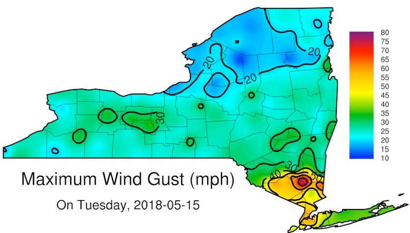 Peak winds across NY as measured by NYS Mesonet, 5/15/2018