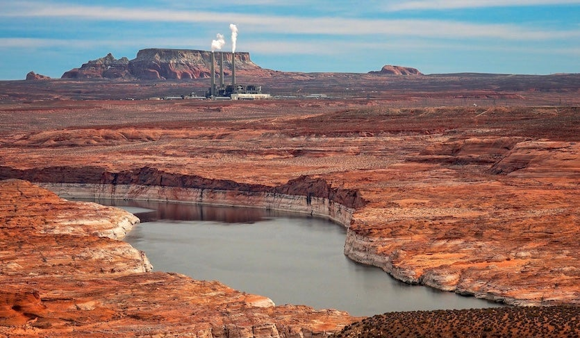 File photo of Lake Powell in north central Arizona, with the Navajo Generating Station in the distance