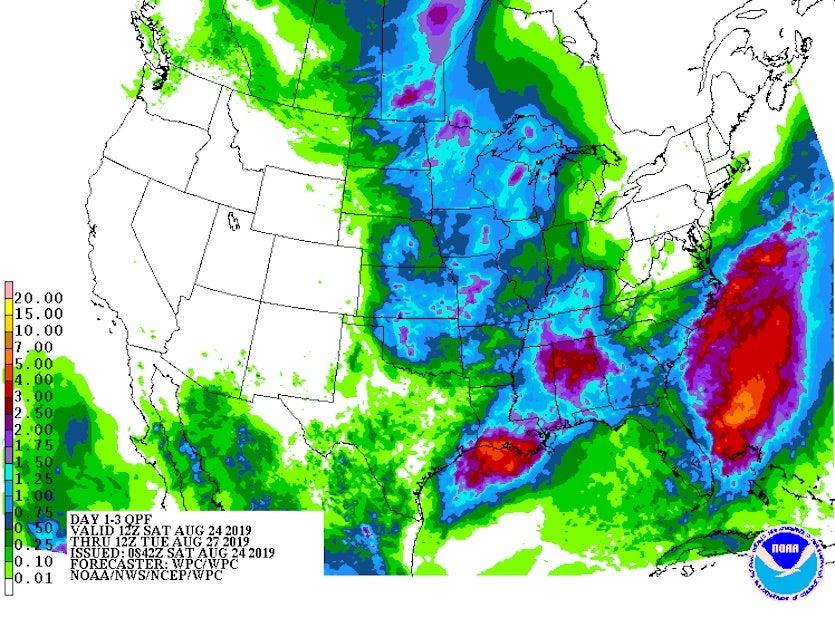 3-day precipitation forecast starting 12Z 8/24/19