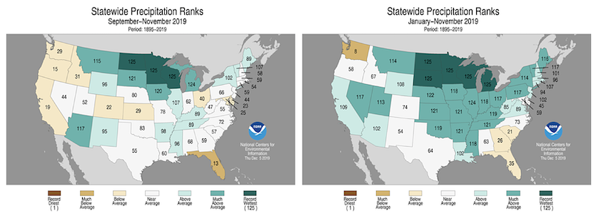 Statewide rankings for precipitation for autumn 2019 (left) and the year to date (right).