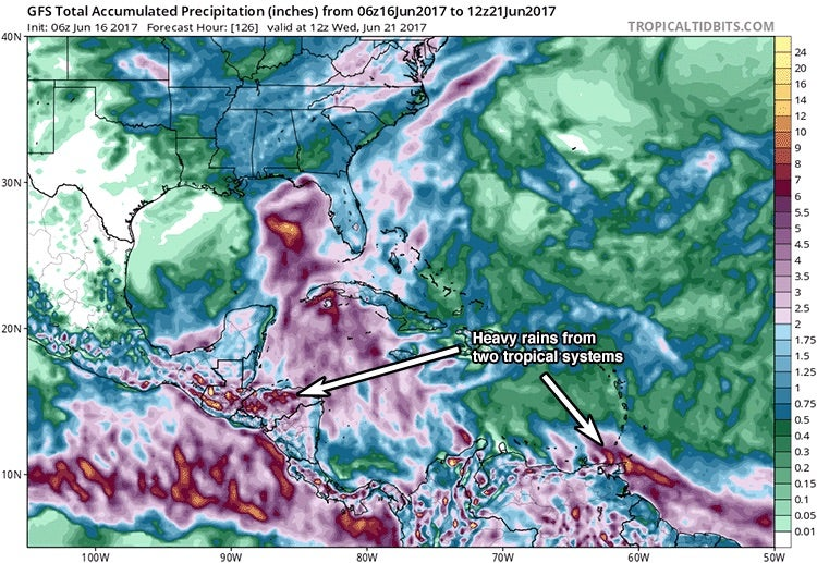 Predicted multiday precipitation for Caribbean/Gulf of Mexico by GFS model, 06Z 6/16/17