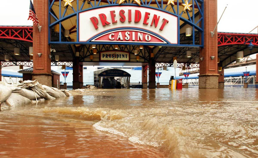 Floodwaters from the Mississippi River blocked the entrance of the President Casino in St. Louis on May 15, 2010