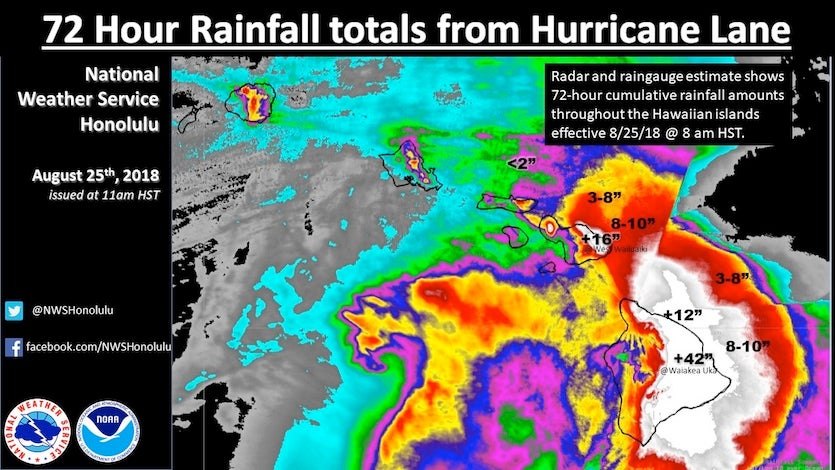 Rainfall totals calculated from rain gauge and radar data across the Hawaiian islands for the 72-hour period ending at 5 pm EDT (11 am HST) Saturday, August 25, 2018