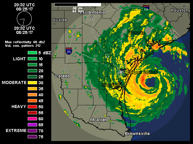 Radar depiction of Harvey at 2032Z 8/25/2017