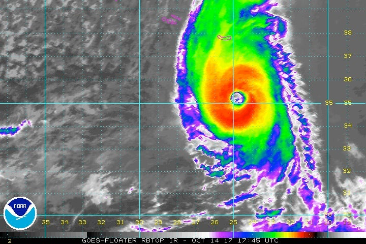 Ophelia in enhanced infrared satellite imagery from 1:45 pm EDT Saturday, October 14, 2017