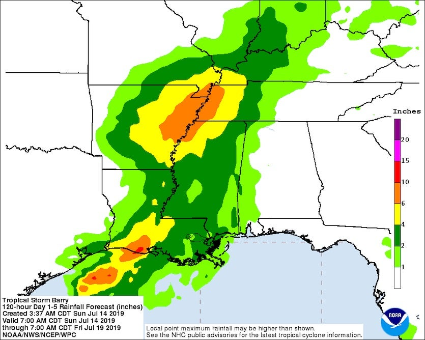 Figure 1. Rainfall forecast for Barry for the five-day period starting at 8 am EDT Sunday, July 14, 2019. Image credit: NOAA/NWS/WPC, via NHC.