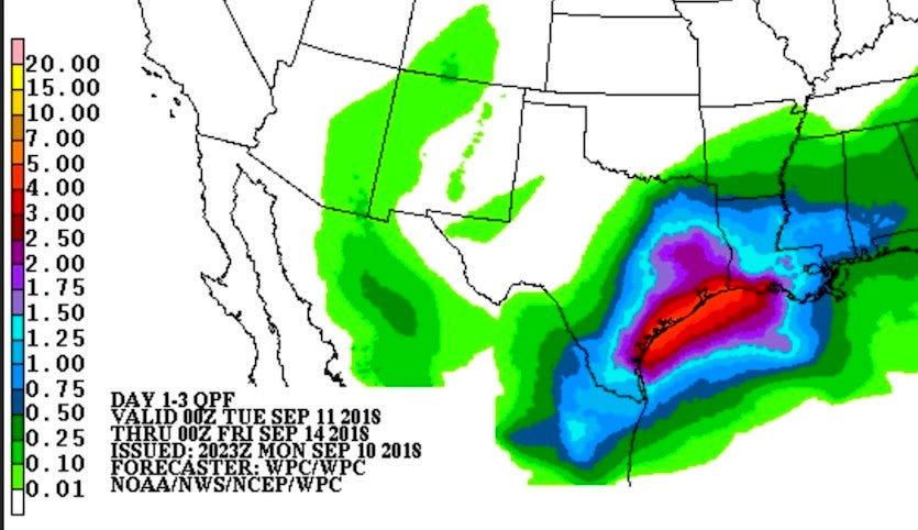 Rainfall outlook for Texas from the NOAA/NWS Weather Prediction Center for the 72-hour period starting at 8 pm EDT Monday, September 10, 2018