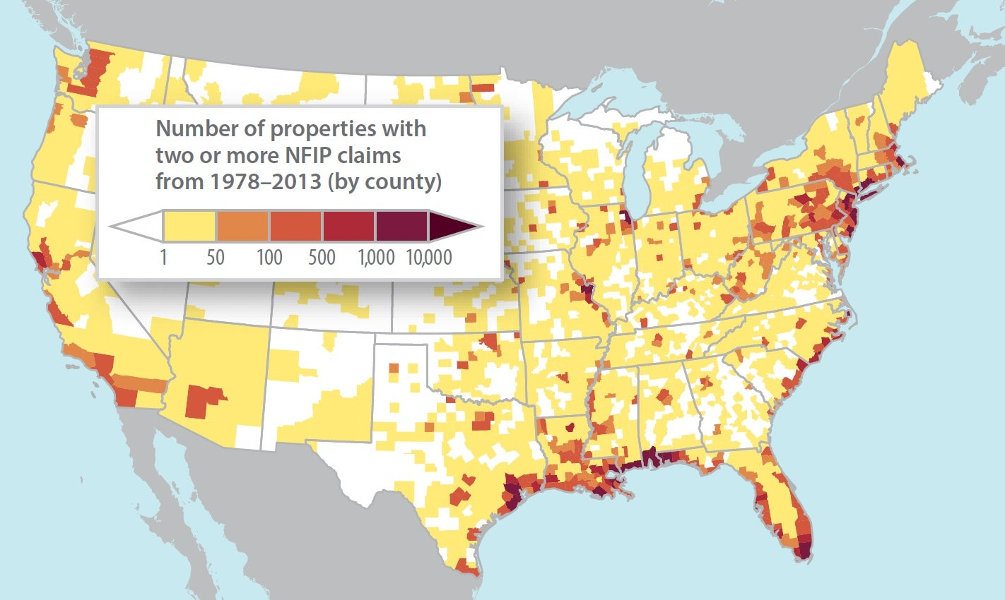 Repetitive-loss properties, shown here by county, accounted for just 1.3 percent of all FEMA policies as of 2013 but were responsible for 25 percent of all NFIP claim payments since 1978