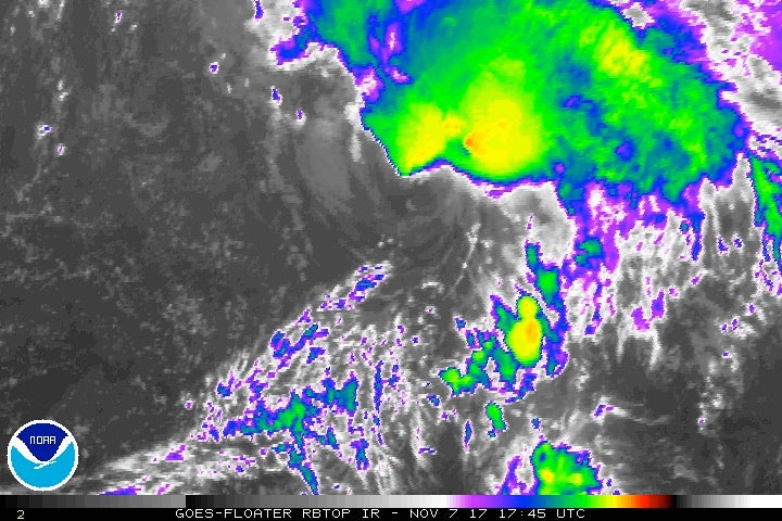 Figure 3. Enhanced infrared satellite image of TS Rina as of 12:45 pm EST 11/7/2017