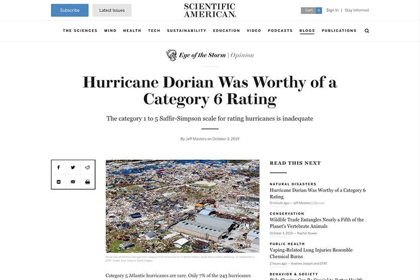 Eye of the Storm blog at Scientific American