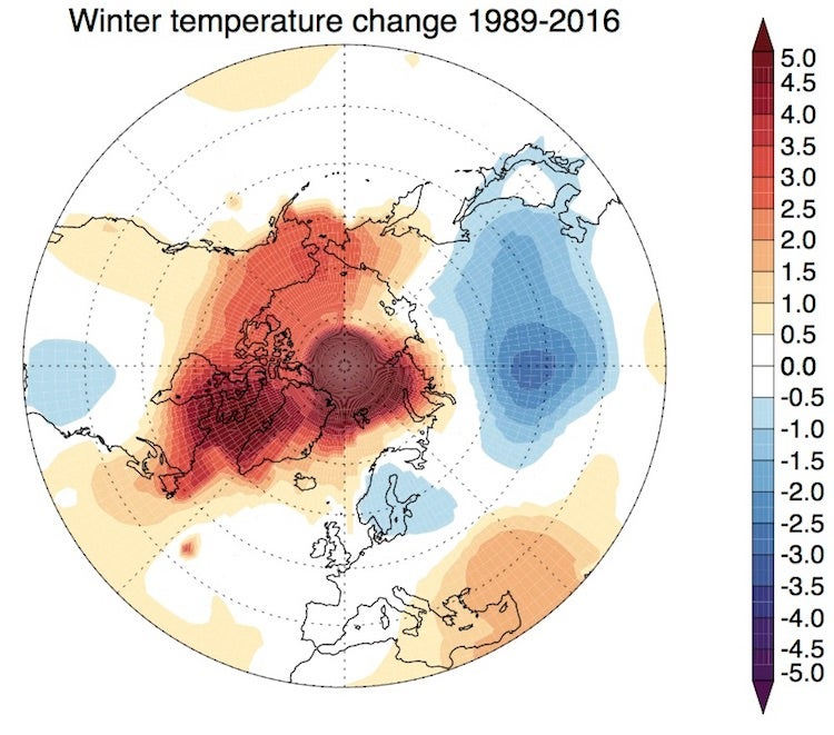 Trend in winter temperature anomalies (Dec-Feb) in Northern Hemisphere, 1989 to 2016