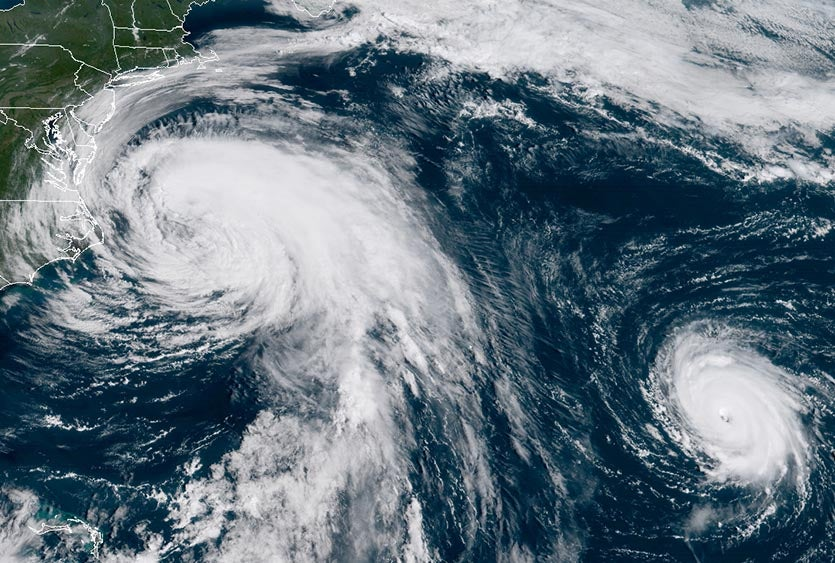GOES-16 view of large Hurricane Maria (left) and small Hurricane Lee (right) at 10:45 am EDT Wednesday, September 27, 2017