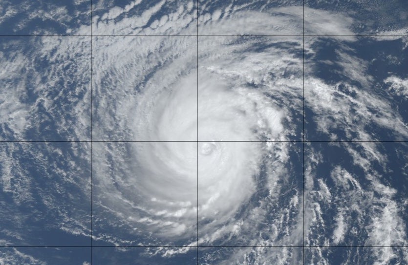 Natural-color satellite image of Hurricane Sergio as of 1820Z (2:20 pm EDT) Saturday, October 6, 2018