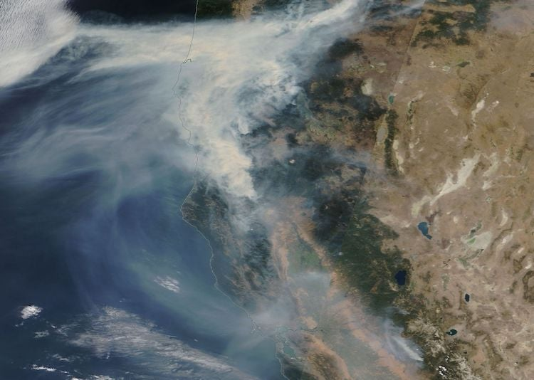 MODIS satellite image of California smoke, 9/2/2017