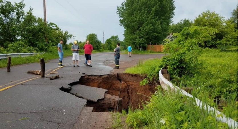 Sinkhole on Cemetery Rd. in Houghton, MI, June 2018