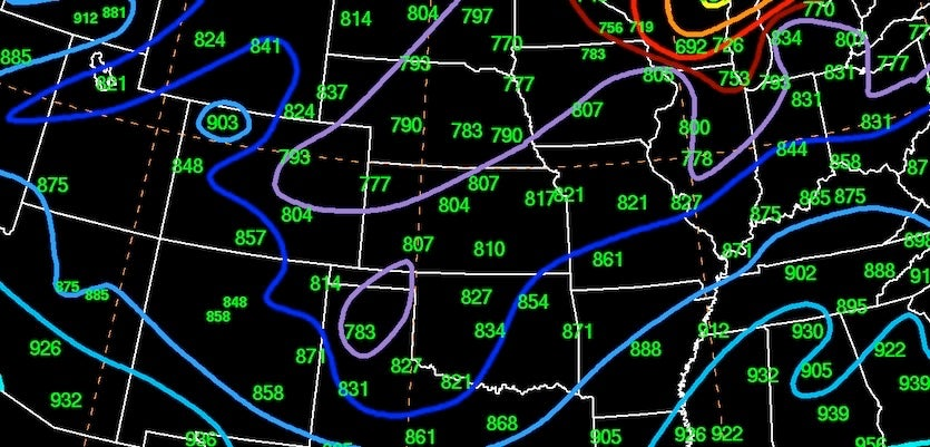 Al-time surface low pressure records for April in the central Great Plains