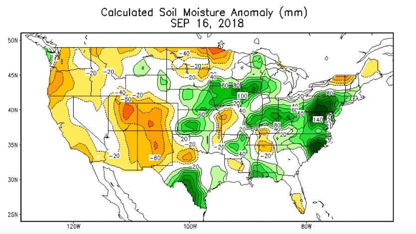 U.S. soil moisture anomaly, 9/16/2018