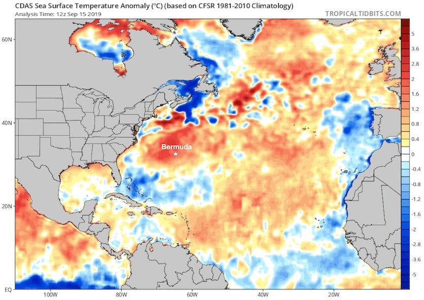 Departures from the 1981-2010 average sea surface temperature in the North Atlantic on 9/15/19