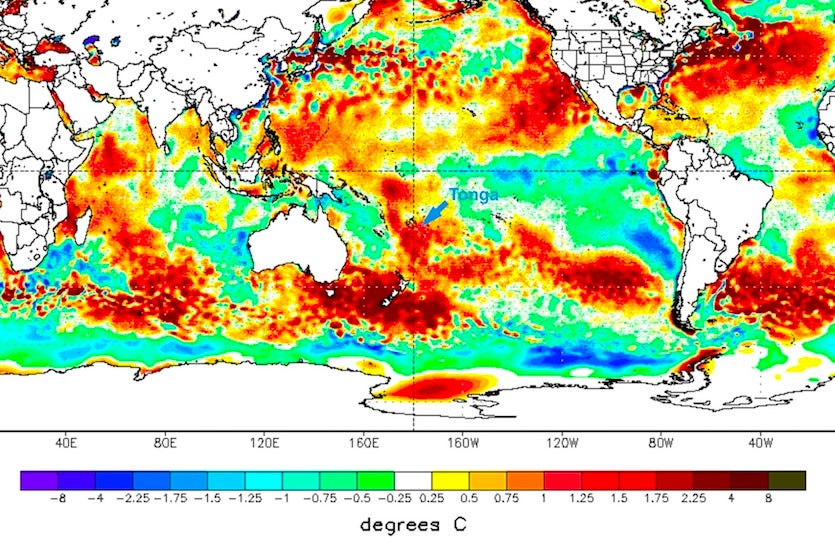SST anomalies over SW Pacific, 2/11/2018