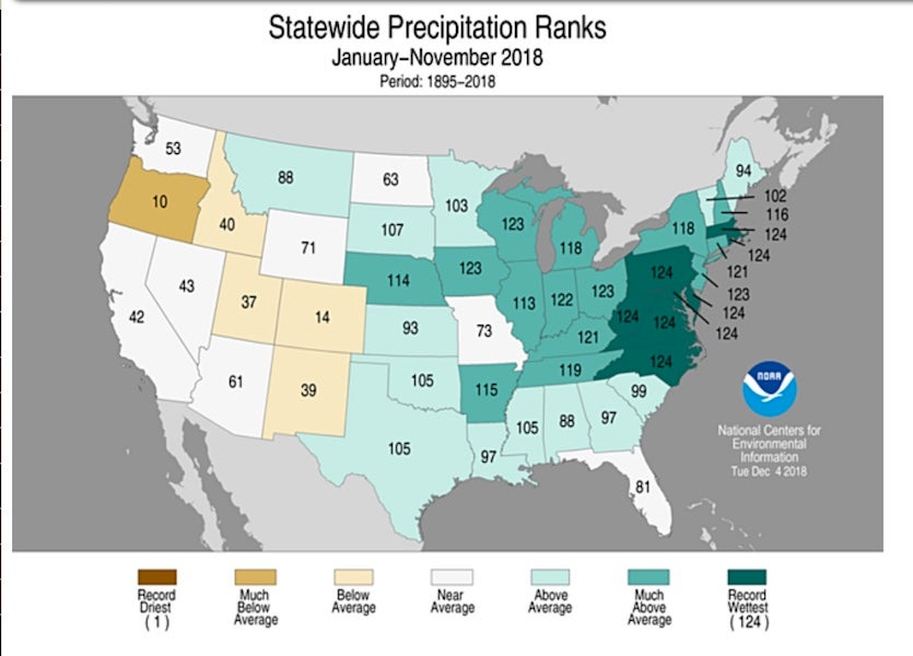 Statewide precipitation rankings for Jan-Nov 2018