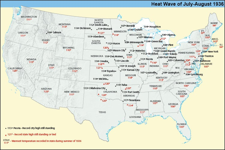 Map summarizing the extreme heat records attained during the summer of 1936
