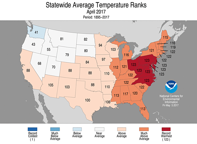 State-by-state temperature rankings for April 2017
